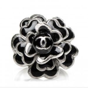 Auth Chanel Enamel CC Camellia Ring Black Silver